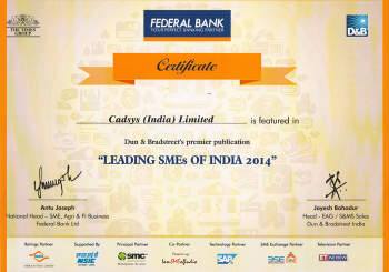 CADSYS featured as one of the leading SMEs of India 2014
