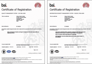 Cadsys is certified ISO 9001:2008 QMS and 27001:2005 ISMS company from BSI, UK.
