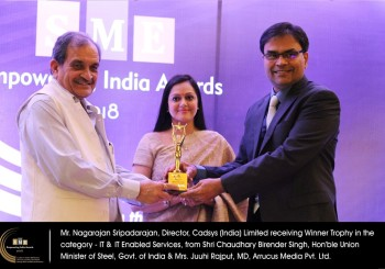 IT & ITES SME Empowering India Award 2018 to Cadsys
